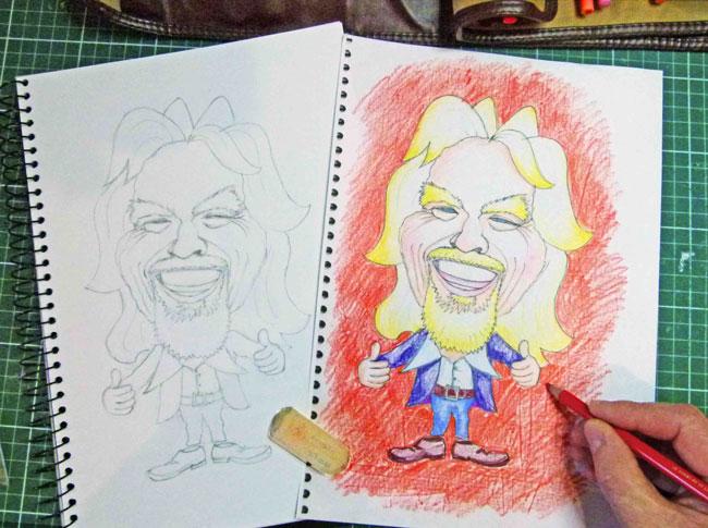 Richard Branson version 3 - paperartzi caricature